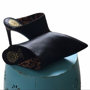 Vince Camuto Black Leather Heeled Mules   8.5/39